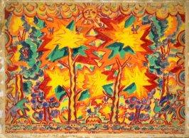 Curtain design for the dance performance, Le Soleil de Nuit (Midnight Sun)