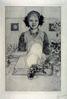 [Girl seated at a table with books and flowers]