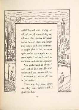 Untitled, pg. 15, in the book A Village: Are You Ready Yet Not Yet, A Play in Four Acts by Gertrude Stein (Paris: Simon Kahnweiler, 1928)