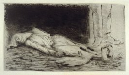 Plate from L'Assommoir (woman lying on the floor)