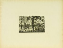 """""""View from Don Saltero's, in Cheyne Walk,"""" facing pg. 25, in the book Cecil Lawson: A Memoir by Edmund W. Gosse (London: The Fine Art Society, 1883)"""