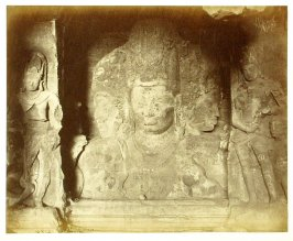 The Three - Headed Figure at back of Cave Representing Brahma, Vishnu and Shiva