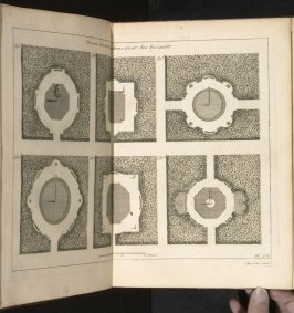 Desseins[sic] de cabinets et salons pour des bosquets, figs. 1-6, fifth plate after page 58 in the book La théorie et la pratique du jardinage (Paris: Jean Mariette, 1709)