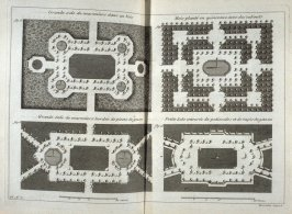 Grande sale de maroniers dans un bois, fig. 1,Grande sale de maroniers bordée de pieces de gazon, fig. 2 , Bois planté en quinconce avec des cabinets, fig. 3, Petite sale centourée de palissades et des tapis de gazon, fig. 4, eighth plate after page 58 in