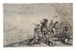 Relief of the wounded, from a Set of four battle scenes, large