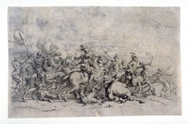 Battle between Christians and Turks, from a Set of four battle scenes, large