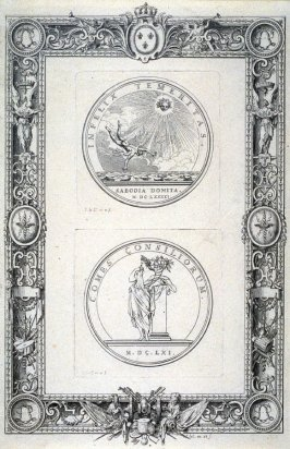 [Two medaillons within a decorative border]
