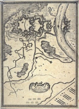 Plan Du Siege De Philisbourg , from.. [Title from spine, in English on spine] Works of Sebastien Le Clerc, Vol. II . [This is a privately made collection, including: Les Actions glorieuses de S. A. S. Charles Duc de Lorraine &c. en Hongrie, Transylvanie,