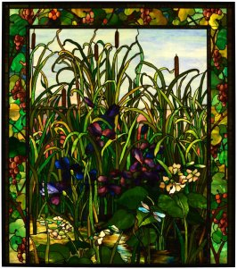 Iris, Lily and Cattail Window