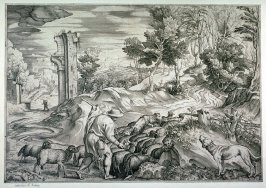 Shepherd tending herd of sheep, from Opera selectiora, quæ Titianus Vecellius Cadubriensis,' &c.