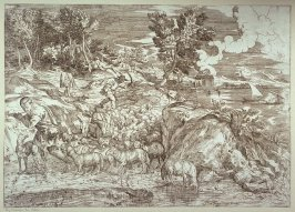 Landscape, Shepherd playing the flute, leading flock, from Opera selectiora, quæ Titianus Vecellius Cadubriensis,' &c.