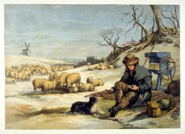 A shephard, his dog and his flock on a winter landscape.