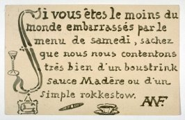 Si vous êtes le moins du monde embarrassés par le menu de samedi...(If you are the least bit embarrassed by Saturday's menu...)