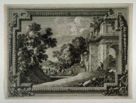 Landscape with a decorative border