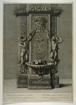 A column ornamented with shells and rockwork with a marble basin in form of a shell (in the Grotto in Versailles) with variations