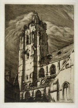 Tower of Saint-Walburga - #6 in the portfolio Pages of Glory and History, the 91st Division in Argonne and Flanders (Paris, New York, San Francisco: City of Paris, 1920)