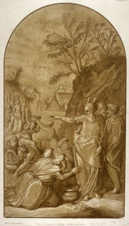 Moses and the children of Israel gathering manna, from the Recueil Crozat