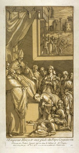 Emperor Henry IV at the feet of Pope Gregory, from the Recueil Crozat