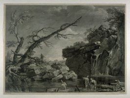 Rocky landscape with women fishing in stream