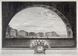Perspective view of a square in front of the Louvre dedicated to Louis XVI