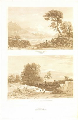 Principles of Light and Shade– Two Views (called Dolbadern Tower in Wales no.1, plate 1 and no. 2, plate 1), pl. 1 in the book A Treatise on the Principles of Landscape Design by John Varley (London: Sherwood, Gilbert, and Piper, [ca. 1821])