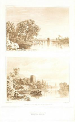 Principles of Objects Reflected in Water Two Views (called pl. C and pl. D ), pl. 2 in the book A Treatise on the Principles of Landscape Design by John Varley (London: Sherwood, Gilbert, and Piper, [ca. 1821])
