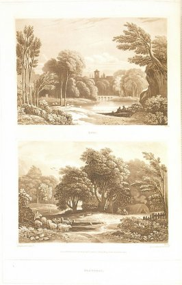 Epic and Pastoral, Two Views (called pl. E and pl. F) , pl. 3 in the book A Treatise on the Principles of Landscape Design by John Varley (London: Sherwood, Gilbert, and Piper, [ca. 1821])