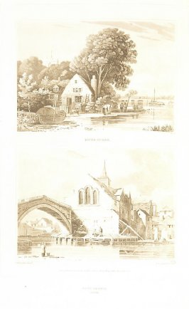 River Scene, and Ouse Bridge, York (called pl. G and pl. H), pl. 4 in the book A Treatise on the Principles of Landscape Design by John Varley (London: Sherwood, Gilbert, and Piper, [ca. 1821])