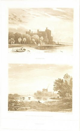 Sunshine and Twiligh)–Two Views (called pl. I and pl. K), pl. 5 in the book A Treatise on the Principles of Landscape Design by John Varley (London: Sherwood, Gilbert, and Piper, [ca. 1821])