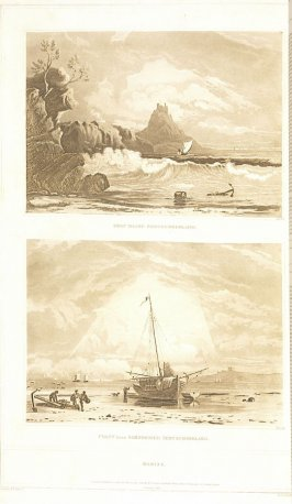 Marine Subjects: Holy Island, Northumberland; coast near Bamborough, Northumberland;–Two Views (called pl. N and pl. O), pl. 7 in the book A Treatise on the Principles of Landscape Design by John Varley (London: Sherwood, Gilbert, and Piper, [ca. 1821])