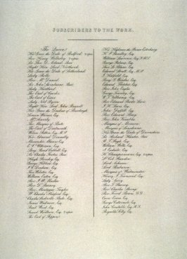 List of Subscribers for the series 'Liber Studiorum of Claude Lorraine by F.C. Lewis'