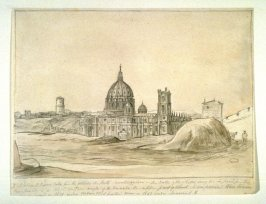 Sketch of St. Peter's at Rome from outside the Porta Cavalleggieri