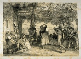 Peasants dancing the Bolero. A Scene in Granada., frontispiece and first plate in the book, Sketches of Spain and Spanish Character (London: F. G. Moon … John F. Lewis, [1836])