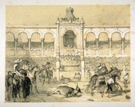 A Scene in the Arena, title page vignette in the book, Sketches of Spain and Spanish Character (London: F. G. Moon … John F. Lewis, [1836])