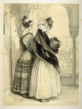 Spanish Ladies: habited in the Maja dress of Andalusia...,fifth plate in the book, Sketches of Spain and Spanish Character (London: F. G. Moon … John F. Lewis, [1836])