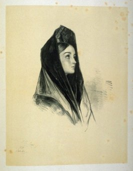 A Girl of Seville, thirteenth plate in the book, Sketches of Spain and Spanish Character (London: F. G. Moon … John F. Lewis, [1836])