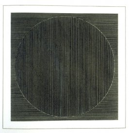 Plate 2 in the book Six geometric figures and all their combinations using white lines in two directions (New York: Parasol Press Ltd. :1980), vol. 2 (of 2) ( white on black)