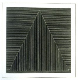 Plate 3 in the book Six geometric figures and all their combinations using white lines in two directions (New York: Parasol Press Ltd. :1980), vol. 2 (of 2) ( white on black)