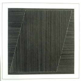 Plate 6 in the book Six geometric figures and all their combinations using white lines in two directions (New York: Parasol Press Ltd. :1980), vol. 2 (of 2) ( white on black)