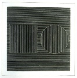 Plate 7 in the book Six geometric figures and all their combinations using white lines in two directions (New York: Parasol Press Ltd. :1980), vol. 2 (of 2) ( white on black)