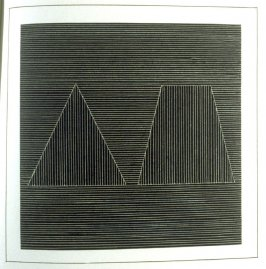 Plate 17 in the book Six geometric figures and all their combinations using white lines in two directions (New York: Parasol Press Ltd. :1980), vol. 2 (of 2) ( white on black)