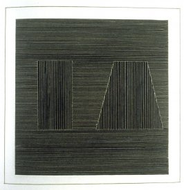 Plate 19 in the book Six geometric figures and all their combinations using white lines in two directions (New York: Parasol Press Ltd. :1980), vol. 2 (of 2) ( white on black)