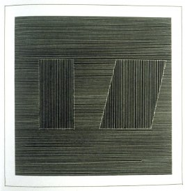 Plate 20 in the book Six geometric figures and all their combinations using white lines in two directions (New York: Parasol Press Ltd. :1980), vol. 2 (of 2) ( white on black)