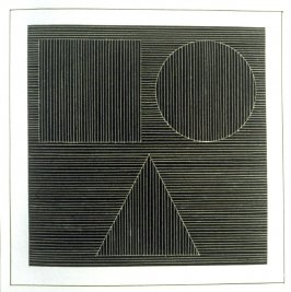 Plate 22 in the book Six geometric figures and all their combinations using white lines in two directions (New York: Parasol Press Ltd. :1980), vol. 2 (of 2) ( white on black)