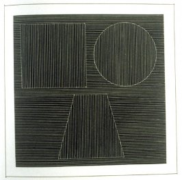 Plate 24 in the book Six geometric figures and all their combinations using white lines in two directions (New York: Parasol Press Ltd. :1980), vol. 2 (of 2) ( white on black)