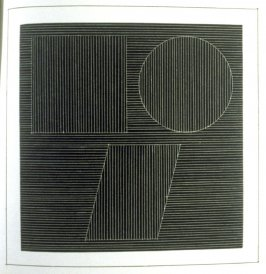 Plate 25 in the book Six geometric figures and all their combinations using white lines in two directions (New York: Parasol Press Ltd. :1980), vol. 2 (of 2) ( white on black)