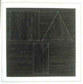Plate 26 in the book Six geometric figures and all their combinations using white lines in two directions (New York: Parasol Press Ltd. :1980), vol. 2 (of 2) ( white on black)