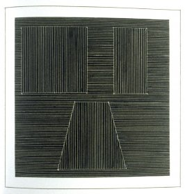 Plate 29 in the book Six geometric figures and all their combinations using white lines in two directions (New York: Parasol Press Ltd. :1980), vol. 2 (of 2) ( white on black)