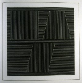 Plate 31 in the book Six geometric figures and all their combinations using white lines in two directions (New York: Parasol Press Ltd. :1980), vol. 2 (of 2) ( white on black)