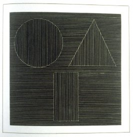 Plate 32 in the book Six geometric figures and all their combinations using white lines in two directions (New York: Parasol Press Ltd. :1980), vol. 2 (of 2) ( white on black)